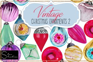 Vintage Christmas Ornaments 2 pack