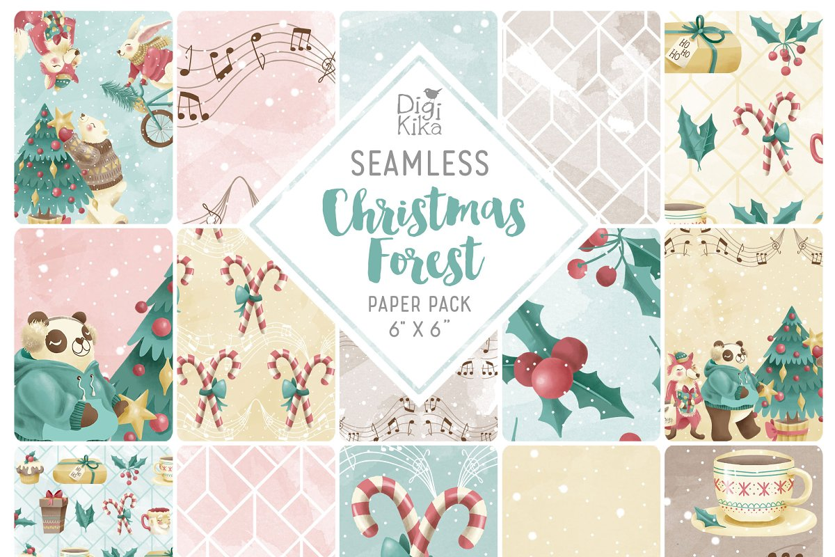 Christmas Forest Seamless Patterns