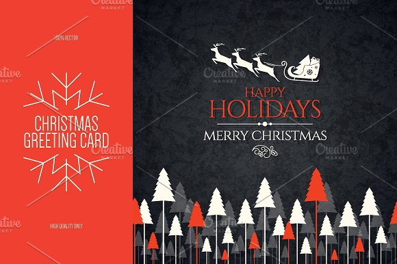 Christmas and New Year greeting card in Postcard Templates