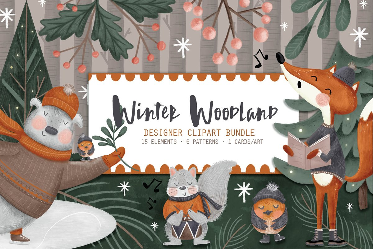 Winter Woodland Clip Art Bundle