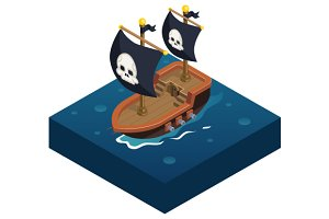 Isometric pirate ship Icon