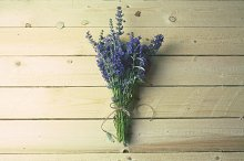 Bouquet of lavender on rustic wood