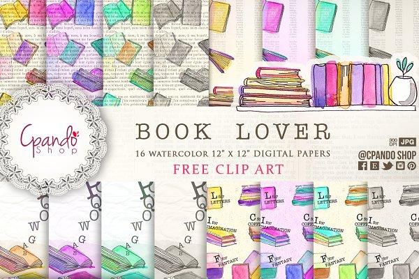 Book Lover watercolor digital paper
