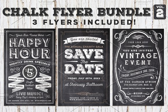 chalk flyer bundle vol 2 60 off flyer templates creative market. Black Bedroom Furniture Sets. Home Design Ideas