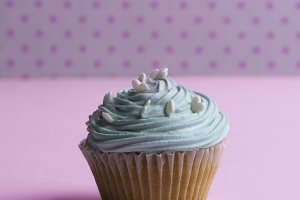Blue cupcake With whipped cream, and