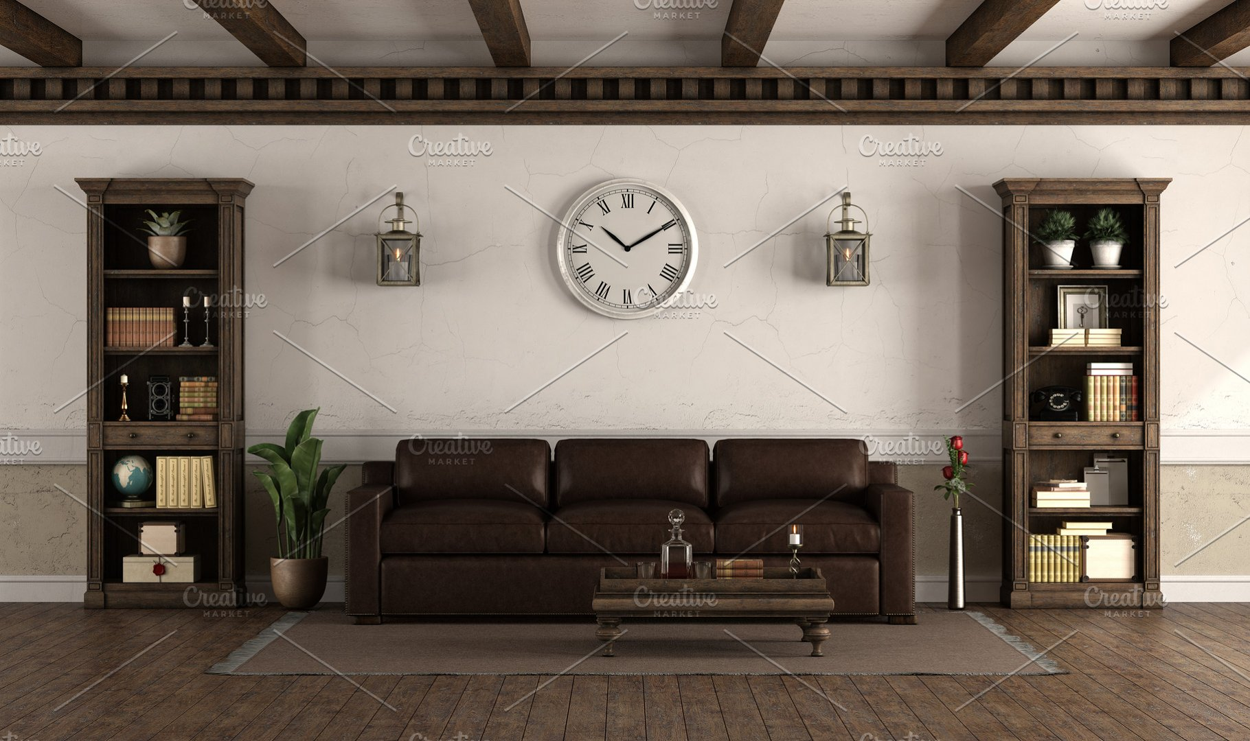 Retro style living room with leather