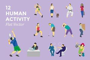 Human Activity 12 Flat Vector