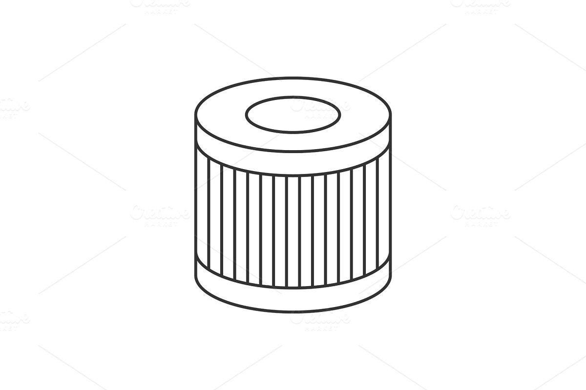Car oil filter linear icon on white