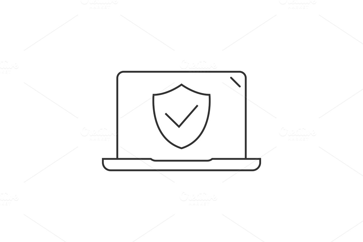 Laptop computer protected icon