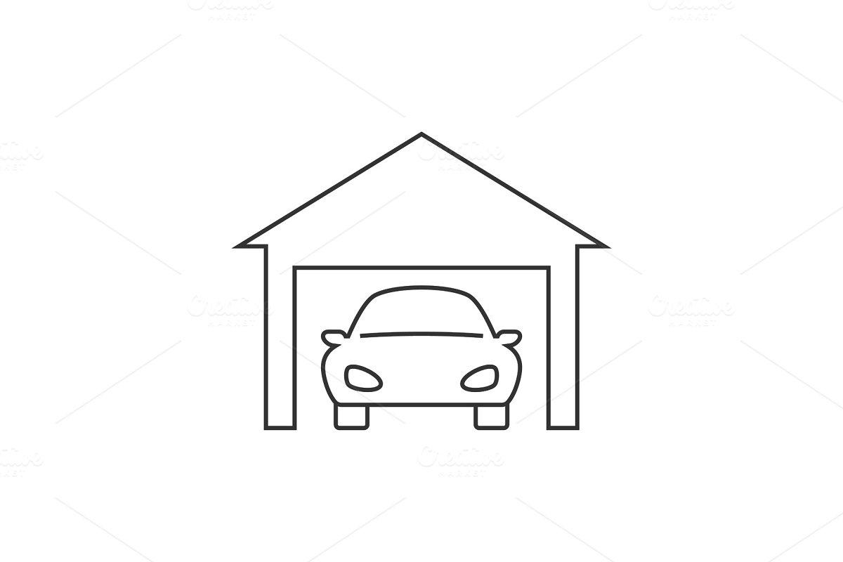 Car in garage line icon on white