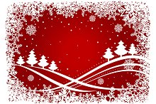 Christmas background with pines and