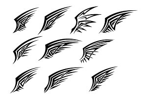 Set of black tribal wing tattoos
