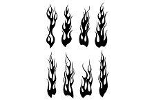 Set of black tribal flames