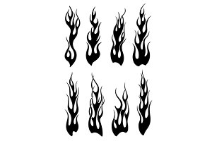 Set of black tribal flames