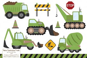 Avocado Vector Construction Trucks