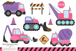 Crayon Box Girl Construction Trucks