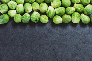 Frame of brussels sprouts