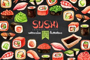 Watercolor Sushi illustrations