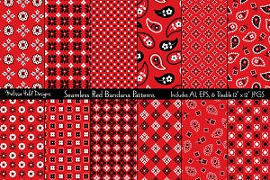 Seamless Red Bandana Patterns