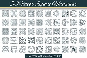 50 Vector Square Mandalas 2