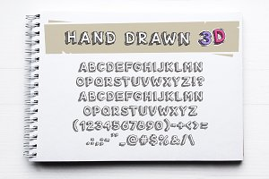 Hand Drawn 3D Letters and Numbers