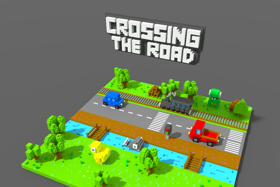 Crossy Road Style Game Voxel Assets