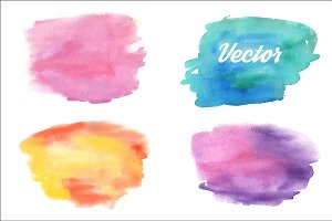 Watercolor spots and banners