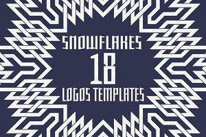 18 snowflakes logos templates