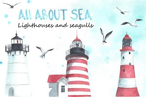 Lighthouses and seagulls. Watercolor