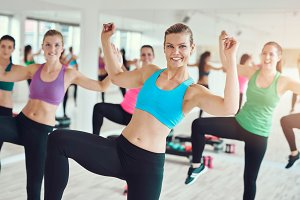 Women practicing aerobics