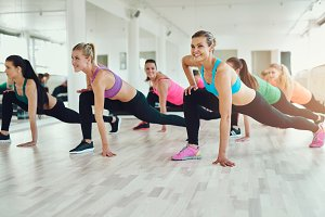 Women in sportswear exercising