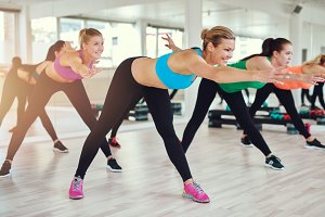 Healthy women exercising