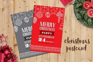 Christmas postcard,2 color design #2