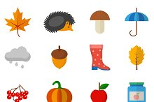 Set of autumn objects in flat style