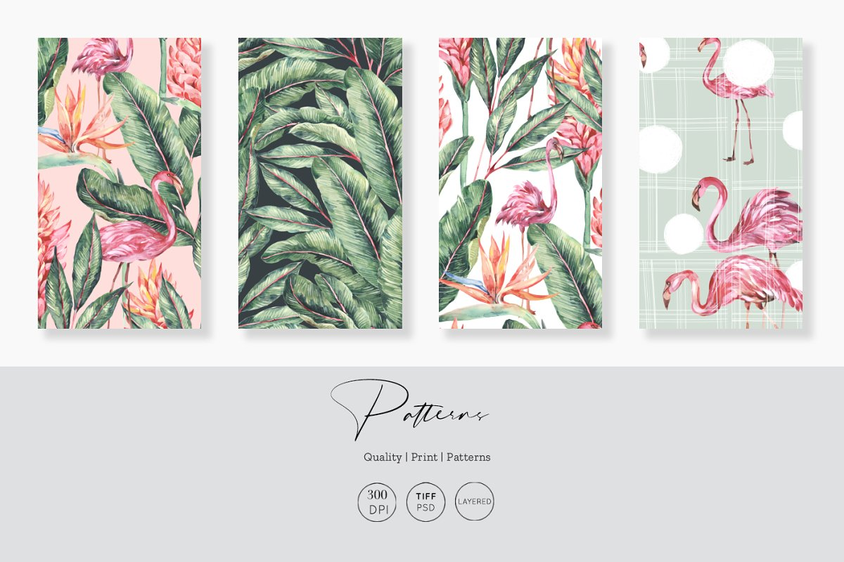 Flamingo, Patterns Set! in Patterns - product preview 1
