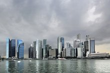 Skyline of Singapore with stormy sky