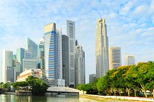 Park and downtown of Singapore