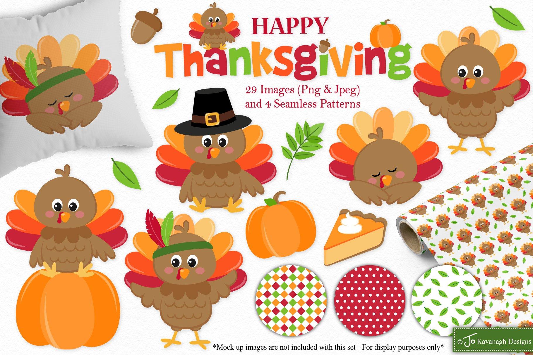 Thanksgiving Clipart C41 Pre Designed Photoshop Graphics Creative Market