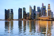 Panoramic night view of Singapore