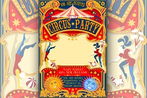 Circus Party Vintage Invitation