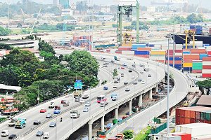 Singapore highway near seaport