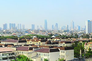 Panoramic view of suburb of Bangkok