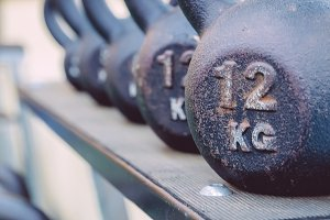 Kettlebells rows ready to use