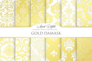 Gold Damask Digital Papers