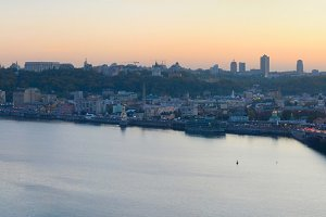 Wide panoramic view of Kiev, Ukraine