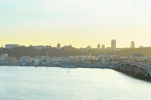 Panoramic view of Kiev at sunset