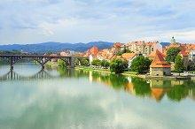 Skyline of Maribor city. Slovenia