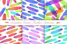 Colorful Feathers. Seamless Patterns