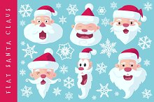 Flat Santa Claus Heads - Vector