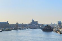 Wide panorama of old Amsterdam